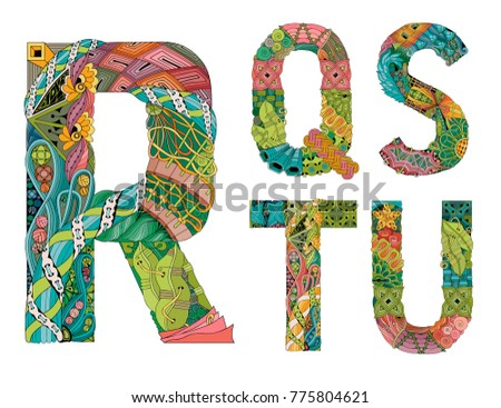 Unusual colorfull alphabet doodle style letters on a white background