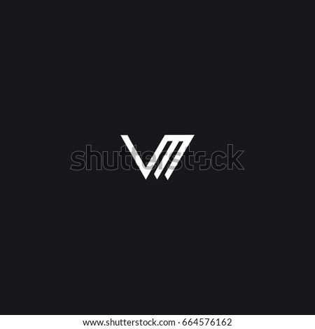 Unusual creative modern stylish unique connected  fashion brands black and white color V M initial based letter icon logo.
