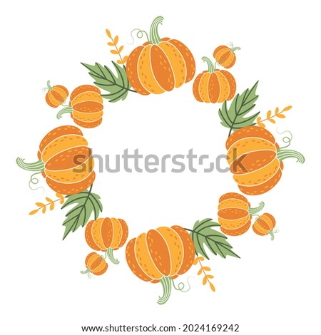Unusual decorative round frame of pumpkins and fallen leaves. Autumn vegetable wreath for harvest day, Thanksgiving, Halloween. Simple clipart, element, object for design of invitations, postcards