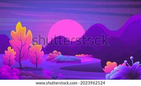 Unusual fantasy colorful landscape on sunset background.