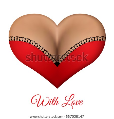 Unusual greeting card for Valentine's Day. Realistic female breast in red lingerie with lace in a heart shape. The concept for your design.