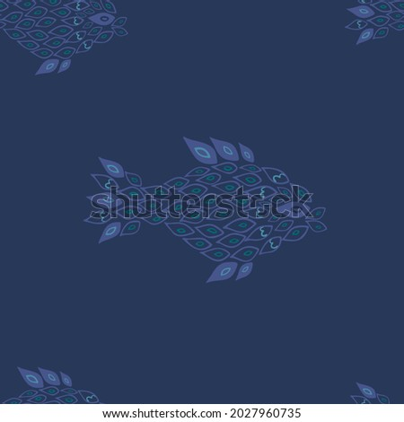 Unusual handdrown blue fish on dark blue background seamless pattern. Fish made of small parts, partly transparent. Pattern for textile, cards, backgrounds etc.