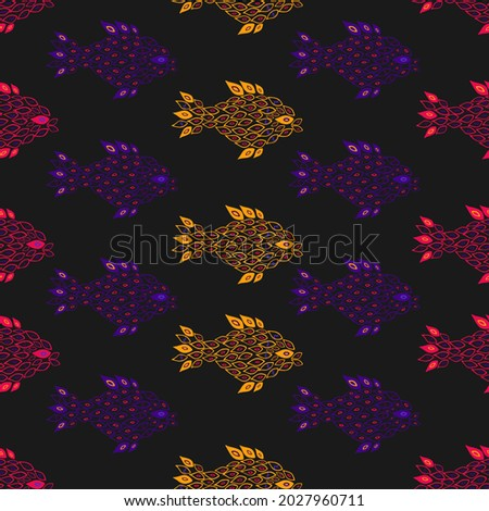 Unusual handdrown bright psychedelic fish seamless pattern. Fish made of small parts, partly transparent. Pattern for textile, cards, backgrounds etc.