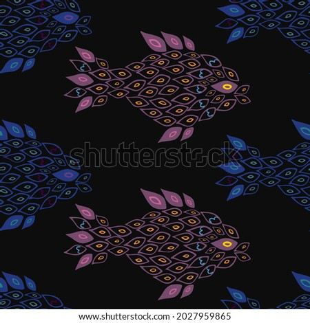 Unusual handdrown pink and blue fish seamless pattern. Fish made of small parts, partly transparent. Pattern for textile, cards, backgrounds etc.