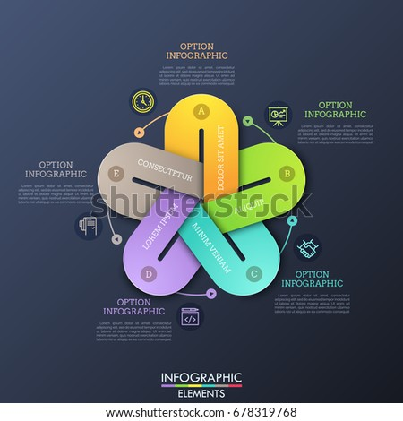 Unusual infographic design layout. 5 colorful elements with gaps connected together, thin line symbols and text boxes. Visualization of cyclic process with five steps. Vector illustration.