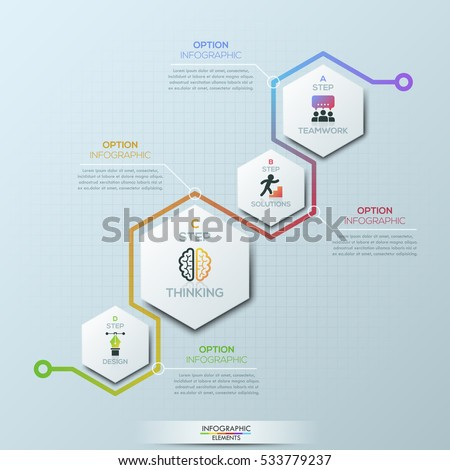 Unusual infographic design template. 4 hexagonal elements with pictograms and text boxes. Four steps of business development concept. Vector illustration for brochure, presentation, report, website.