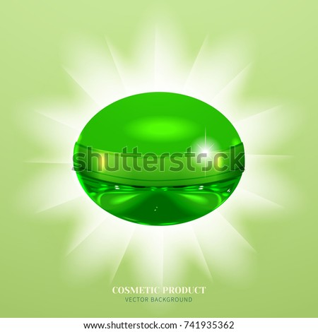 Unusual jar with cosmetic product or perfume against the background of glowing rays.Design cosmetic product advertising.