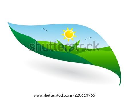 unusual landscape, leaf, birds and sun