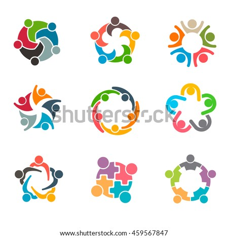 Unusual People Group Set. Group of persons in teamwork and collaboration activity. Vector graphic design