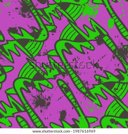 Unusual psychedelic abstract hand drawn seamless pattern