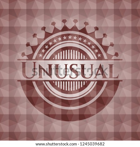Unusual red emblem or badge with abstract geometric polygonal pattern background. Seamless.
