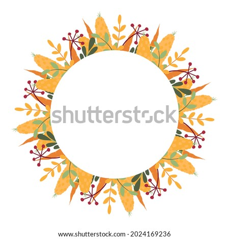 Unusual round frame of corn, carrots, berries and fallen leaves. Generous autumn vegetable wreath for Thanksgiving, harvest day, seasonal holiday. Beautiful flat clipart for cards, posters and banners