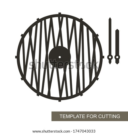 Unusual round wall clock in a minimalistic modern style. Dial without numbers, pattern of straight lines, minute and hour hands. Vector template for laser cutting of paper, wood, plywood, metal (cnc).