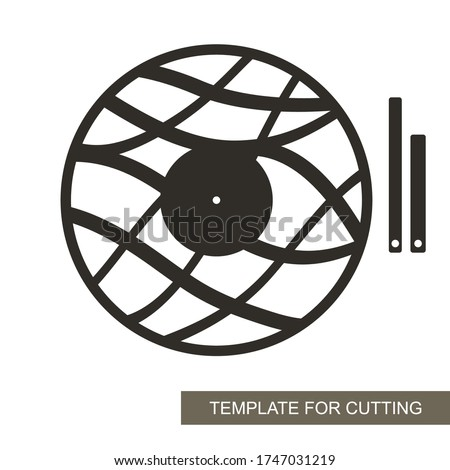 Unusual round wall clock in a minimalistic modern style. Dial without numbers, wave pattern, minute and hour hands. Vector template for laser cutting of paper, wood carving, plywood, metal engraving.
