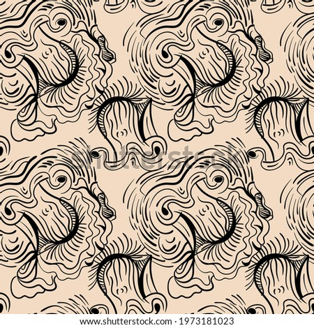 Unusual seamless abstract artwork with hand drawn psychedelic black line patterns