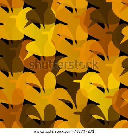 Unusual seamless pattern out of abstract unusual geometric shapes. Warm yellow, brown colors, halftones.