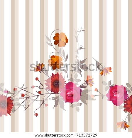 Unusual striped seamless pattern with floral garland. Vector illustration.