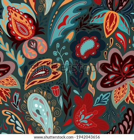 Unusual stylized flowers motive. Vector seamless pattern. Folk background.