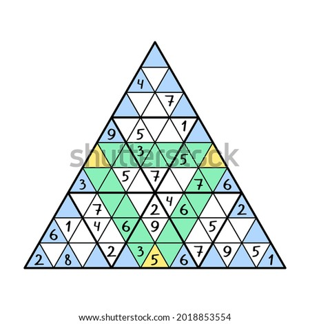 Unusual triangular sudoku game for kids and adults vector illustration. Place 1-9 numbers in each big triangle, blue and green lines just once