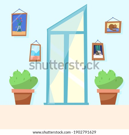 unusual window in the living room with flowers. illustration in flat style