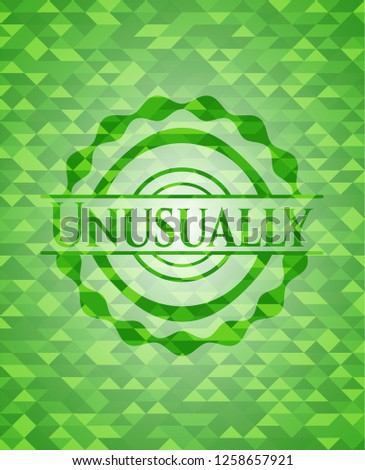 Unusually green emblem with triangle mosaic background
