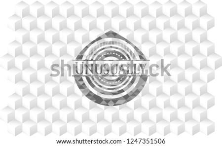 Unusually grey badge with geometric cube white background