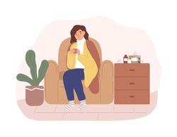 Unwell woman sitting on armchair covering plaid having influenza symptoms vector flat illustration. Sickness female having cold disease holding cup with hot beverage isolated. Seasonal viral flu