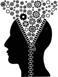 unzipped human head with cogs