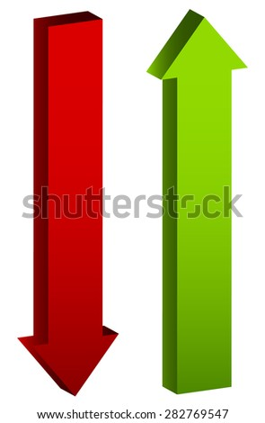 Up and down arrows in green and red, editable vector.