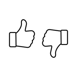 Up and down thumbs icon. Thumbs up and thumbs down. Approve and disapprove. Like icon and dislike black color simple stroke outline thin line design. Vector icons set isolated on white background