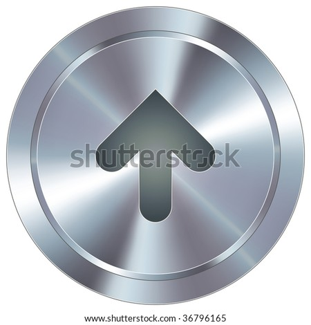 Up arrow direction icon on round stainless steel modern industrial button suitable for use as a website accent, on promotional materials, or in advertisements.