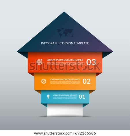 Up arrow infographic options banner. Business success staircase concept. Can be used for workflow layout, diagram, chart, number and step options, web design. Vector illustration