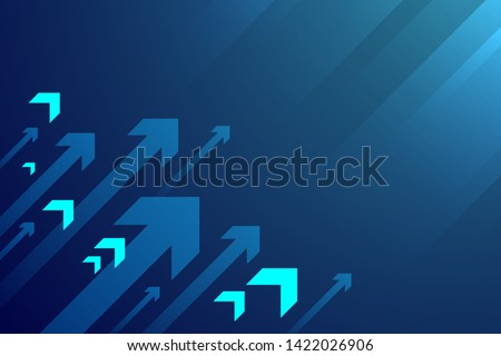 Up arrow on blue background illustration, copy space composition, business growth concept.