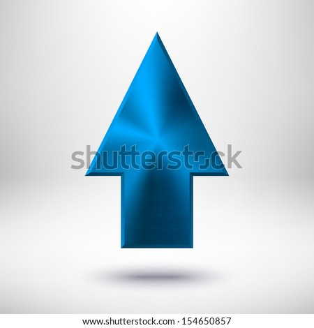 up arrow sign with blue metal