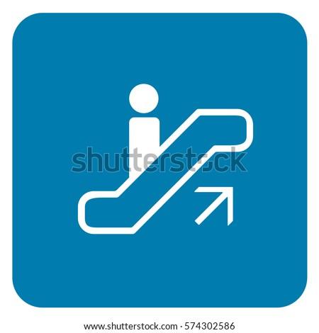 Up Escalator Sign Blue. Vector.