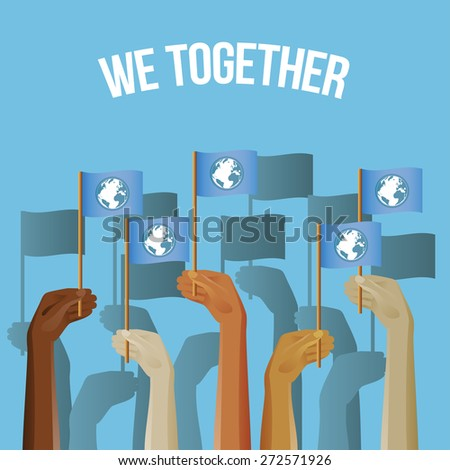 Up hands icon with flags. Vector illustration for posters, banners and greeting card #272571926