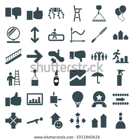Up icons. set of 36 editable filled up icons such as escalator down, arrow up, spray bottle, spa bag, man move, hook with cargo, like, dislike, graph, keep dry cargo