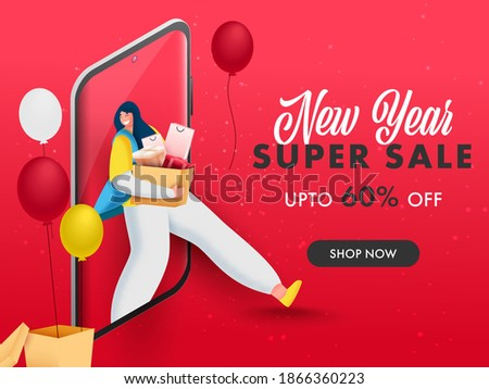 UP TO 60% Off For New Year Super Sale Poster Design With Customer Woman Shopping On Smartphone.