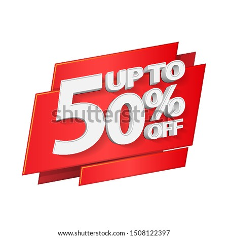 Up To 50% Off Special Offer 3D Red Digits Banner, Template Fifty Percent. Sale, Discount. Grayscale, Gray, Glossy Numbers. Illustration Isolated On White Background. Ready For Your Design.