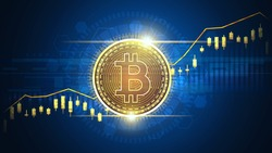 Up trend Technical graph of Bitcoin in futuristic concept
