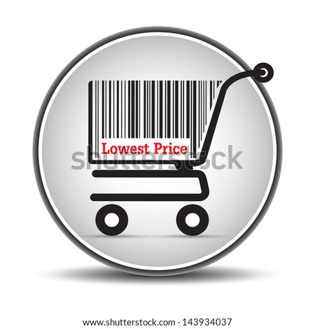 upc barcode shopping card on gray round