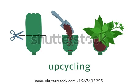 Upcycling, reuse concept. Secondary use of plastic bottle in garden pot with green plants. Vector zero waste, ecology design Foto stock ©