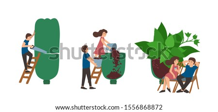 Upcycling, reuse concept. Small people making green garden from plastic bottle. Vector zero waste, ecology design Foto stock ©