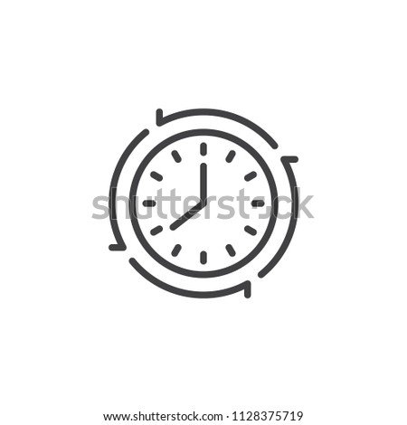 Update clock outline icon. linear style sign for mobile concept and web design. Watch, reload, recycle simple line vector icon. Planning Symbol, logo illustration. Pixel perfect vector graphics
