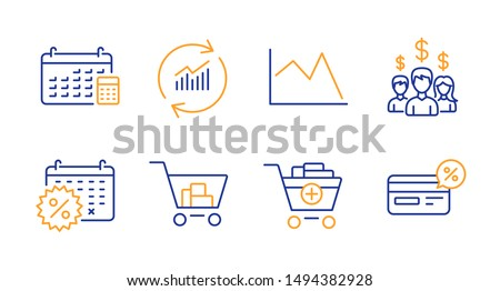 Update data, Calendar discounts and Internet shopping line icons set. Line chart, Salary employees and Add products signs. Calendar, Cashback symbols. Sales statistics, Shopping. Finance set. Vector