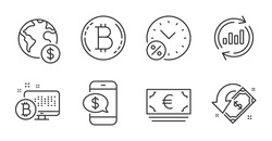 Update data, Phone payment and Loan percent line icons set. Bitcoin system, Global business and Bitcoin signs. Euro currency, Cashback symbols. Sales chart, Mobile pay, Discount. Finance set. Vector