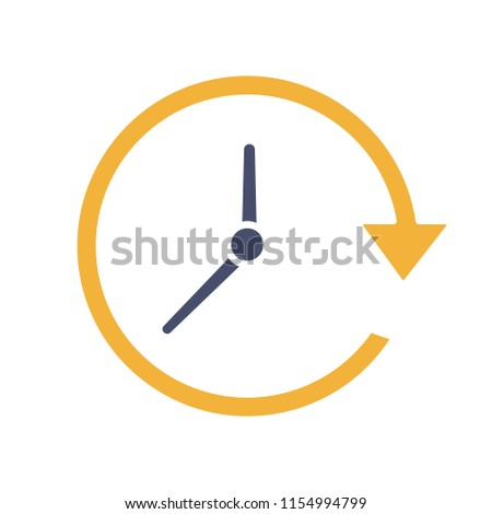 Update glyph color icon. Silhouette symbol on white background with no outline. Clockwise. Clock with circle arrow. Negative space. Vector illustration