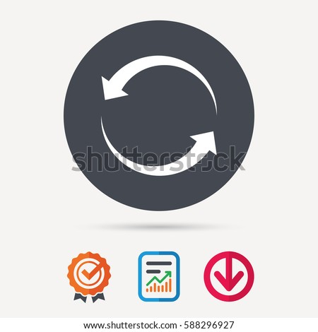 Update icon. Refresh or repeat symbol. Report document, award medal with tick and new tag signs. Colored flat web icons. Vector