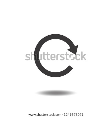 Update icon vector or reload button,refresh,redo with arrow flat sign symbols logo illustration isolated on white background black color.Concepts objects graphic for web app mobile phone.