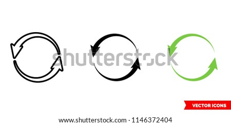 Update left rotation icon of 3 types: color, black and white, outline. Isolated vector sign symbol.
